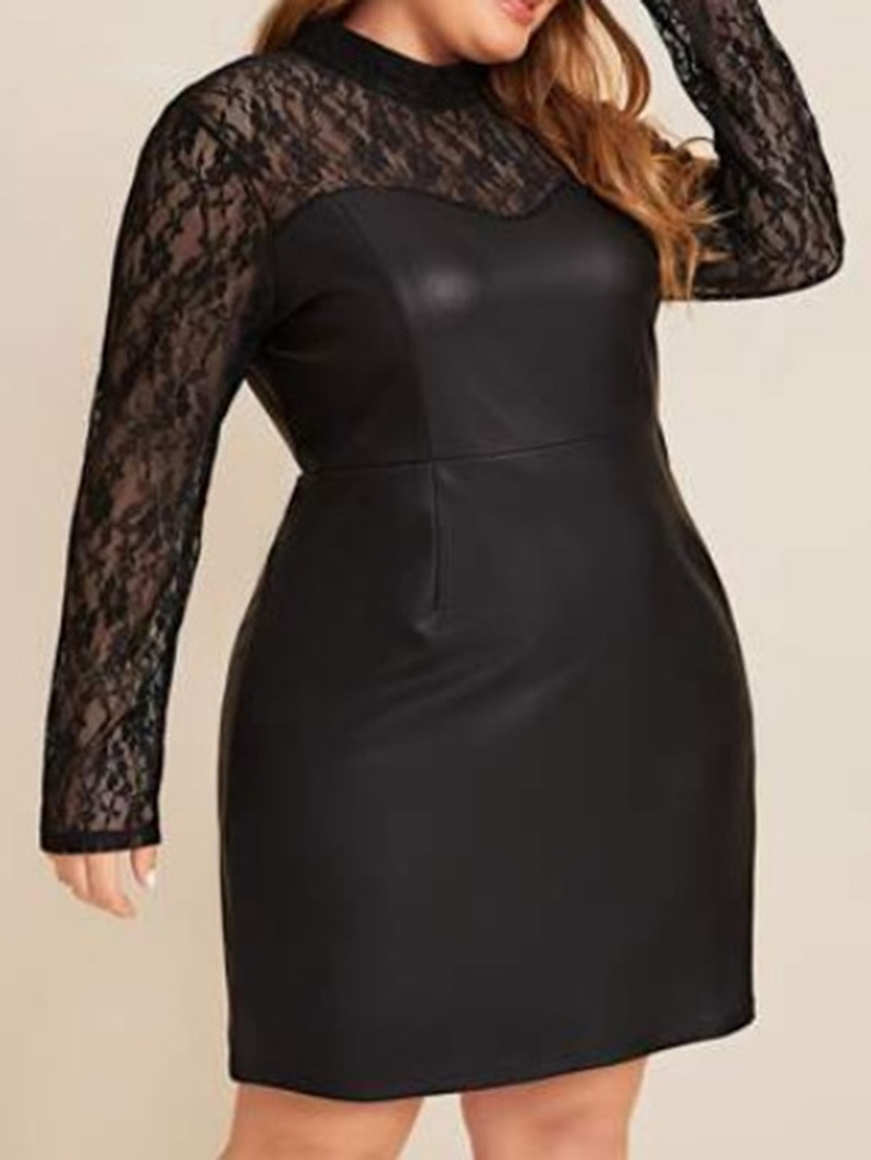 Ericdress Plus Size Lace Above Knee Stand Collar High Waist Women's Dress