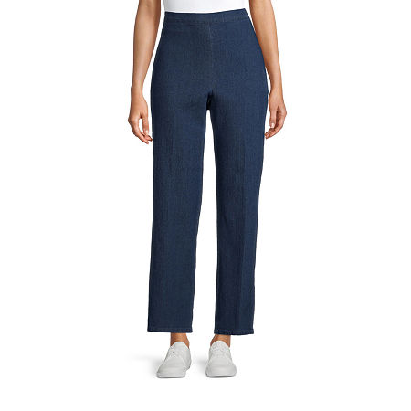 Alfred Dunner-Petite Womens Straight Flat Front Pant, 14 Petite Short , Blue