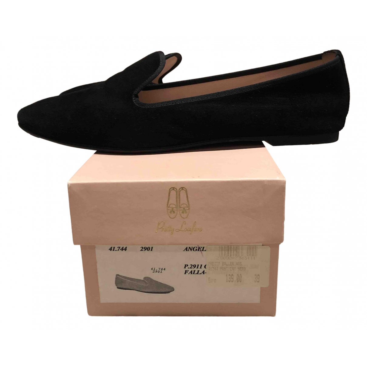 Pretty Ballerinas N Black Suede Ballet flats for Women 39 IT