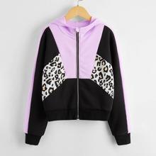 Capucha con cremallera de color combinado de leopardo