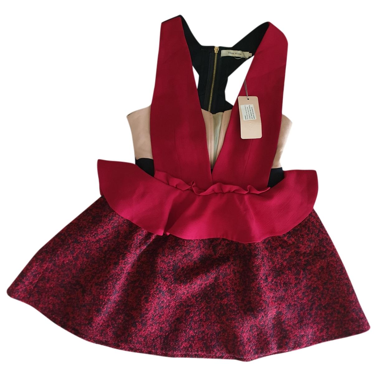Three Floor Fashion \N Kleid in  Rot Kaschmir