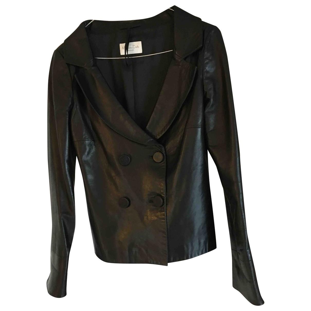 Massimo Dutti - Blouson   pour femme en cuir - noir
