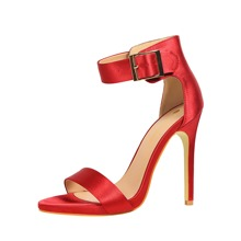 Open Toe Ankle Strap Stiletto Heeled Sandals