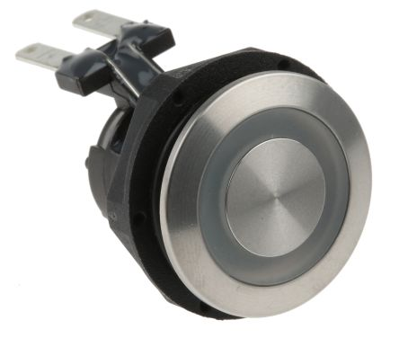 Schurter Single Pole Double Throw (SPDT) Momentary Green LED Push Button Switch, IP67, 19 (Dia.)mm, Panel Mount, 250V ac
