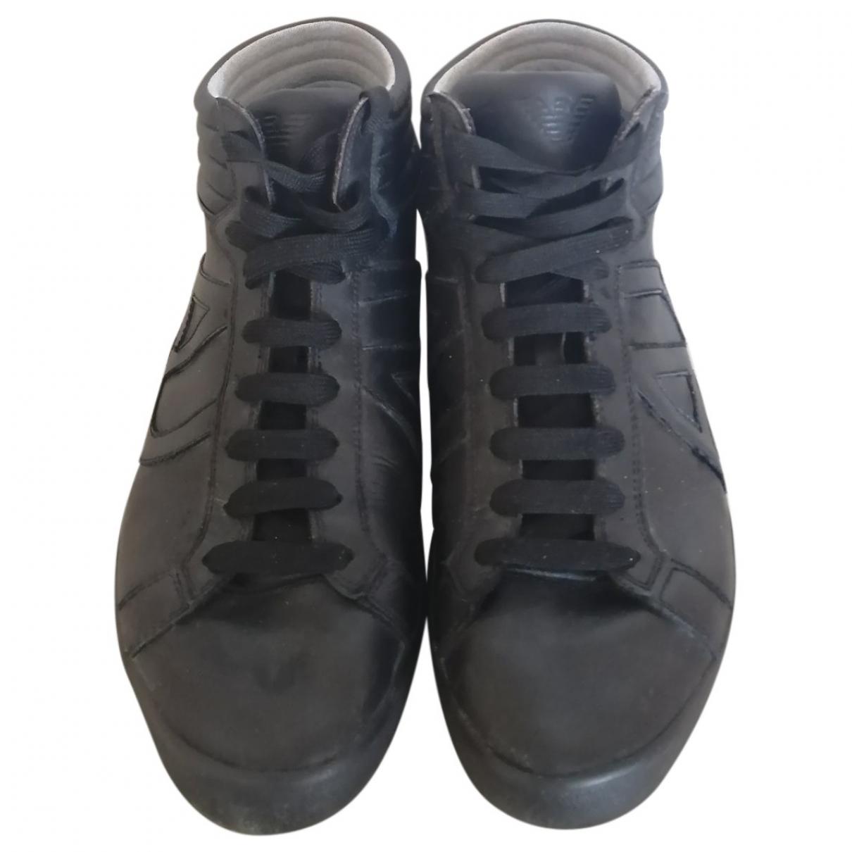 Armani Jean - Baskets   pour homme en cuir - noir