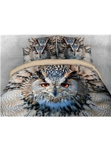 3D Owl Animal Printed Soft 4Pcs Zipper Bedding Sets Brown Duvet Cover with Corner Ties