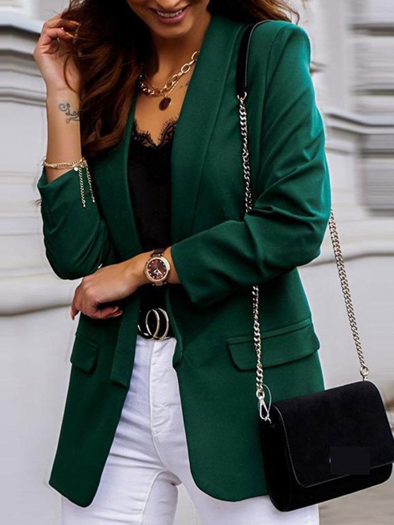 Ericdress Wrapped Long Sleeve Plain Mid-Length Regular Blazer