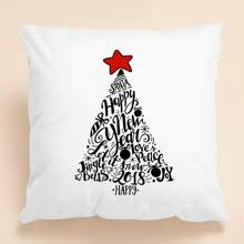 Christmas Slogan Graphic Cushion Cover Without Filler