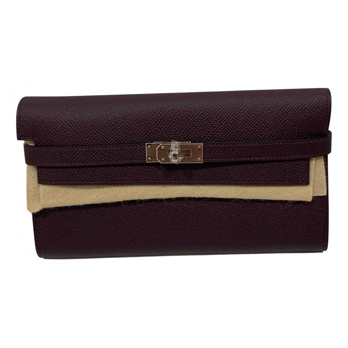Hermes - Portefeuille Kelly pour femme en cuir - violet