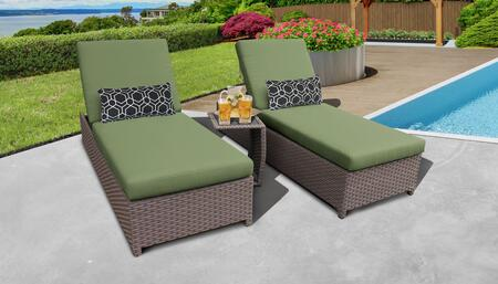 Florence Collection FLORENCE-W-2x-ST-CILANTRO Patio Set with 2 Chaise with Wheels  1 Side Table - Grey and Cilantro