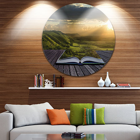 Design Art Open Book to Green Valley Disc Contemporary Landscape Circle Metal Wall Art, One Size , Green