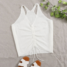 Plus Solid Drawstring Front Knit Top