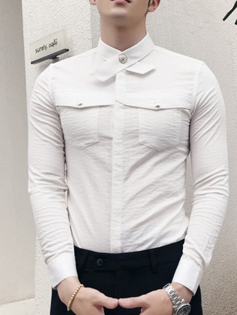 Ericdress Plain Korean Pocket Slim Mens Shirt