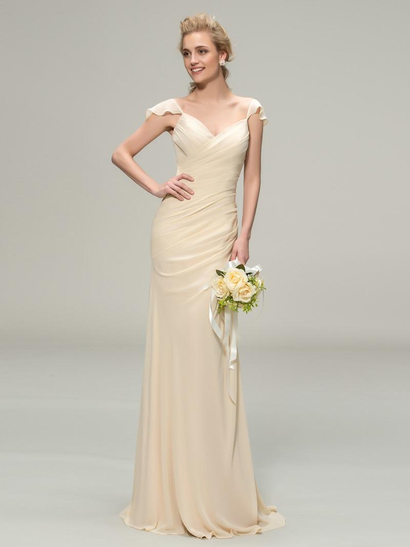 Ericdress Pleats Cap Sleeve Sheath Bridesmaid Dress