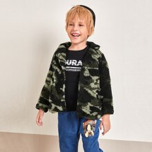 Toddler Boys Camo Button Up Teddy Coat
