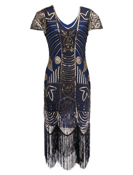 Milanoo Disfraz Halloween Vestidos años 20 azul con lentejuela Charleston disfraz Disfraces Retro para Halloween estilo femenino Disfraces & Cosplay D