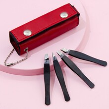 4pcs Eyebrow Tweezer With Case