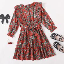 Vestido linea A con cinturon floral