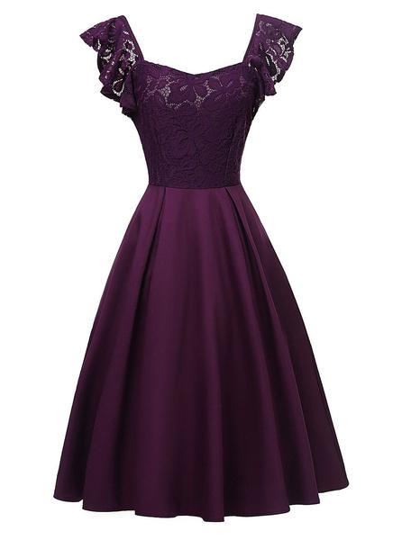 Milanoo Vestido de encaje vintage sin respaldo años 1950 sin mangas de las mujeres en forma y vestido de fiesta llamarada