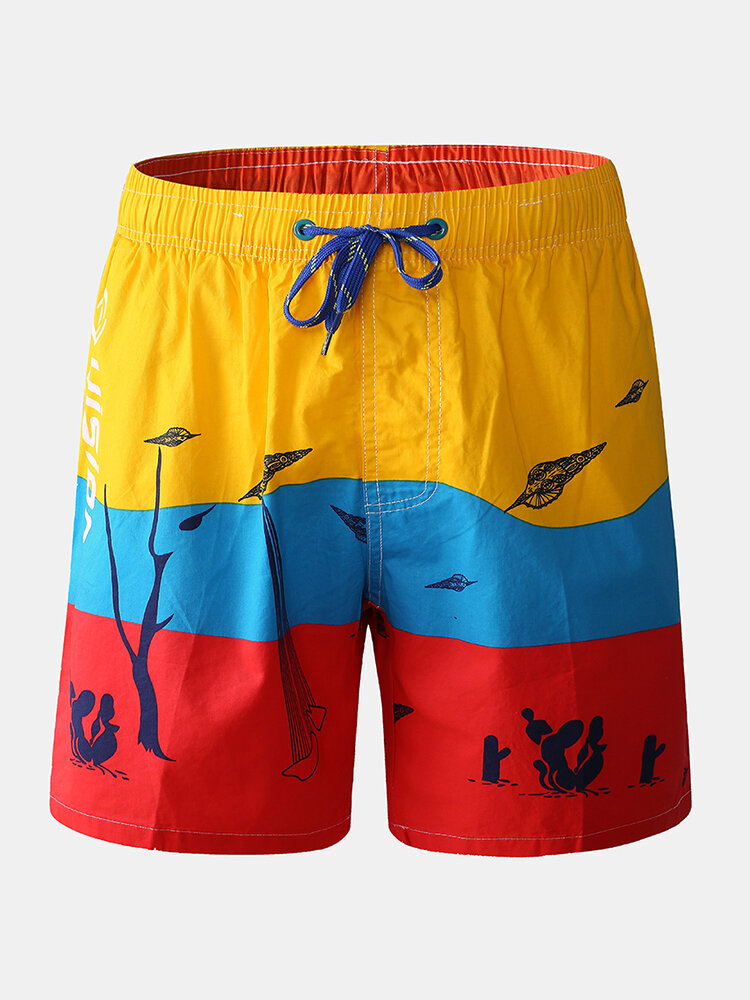 Mens Cotton Funny Print Color Block Board Shorts Thin Quick Dry Drawing Beach Trunk