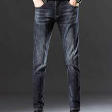Men Washed Ripped Tapered Jeans