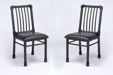 Caitlin Collection 72037 Set of 2 Side Chairs with Slatted Backrest  Crossbar Supports  Industrial Style  Metal Tube Pipe Frame and PU Leather