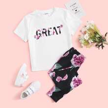 Girls Letter and Floral Print Top & Pants Set