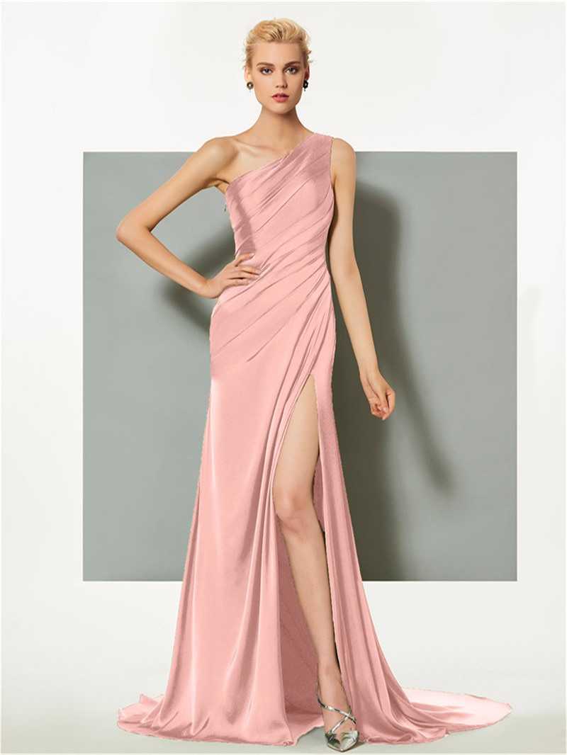 Ericdress Sheath One Shoulder Pleats Side Slit Long Evening Dress