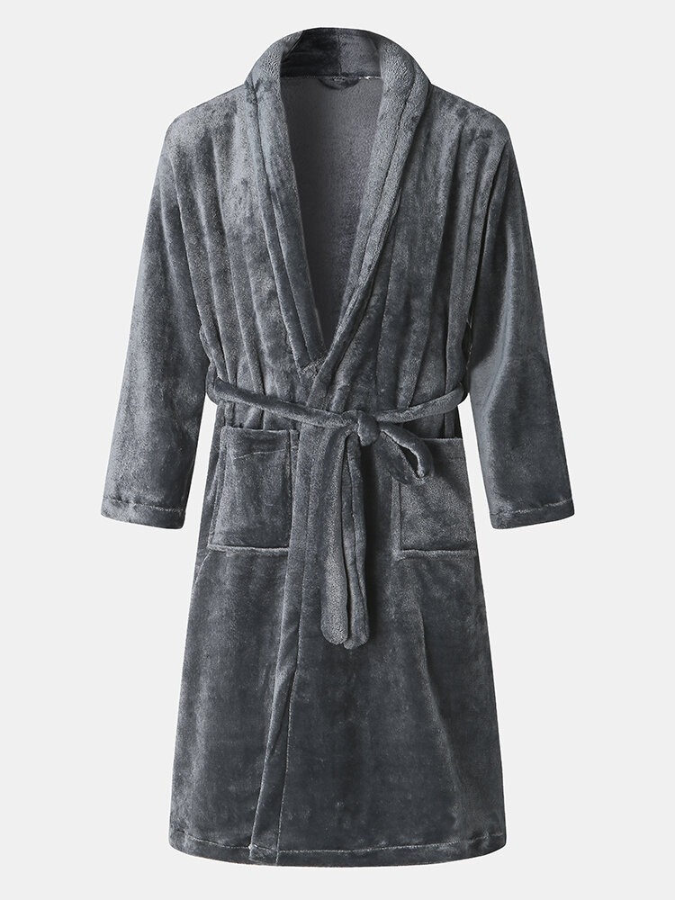 Mens Winter Wearable Flannel Thick Casual Homewear Nightgown Plain Color Robe