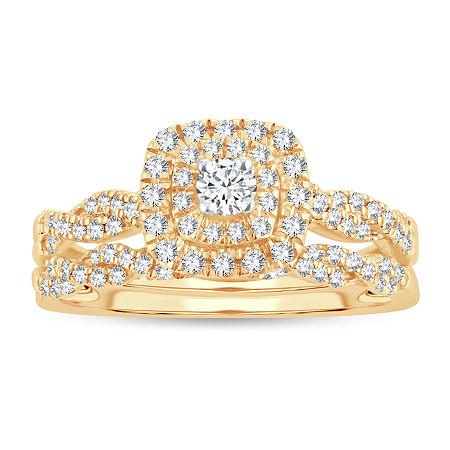 Womens 1/2 CT. T.W. Genuine White Diamond 10K Gold Bridal Set, 8 , No Color Family