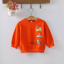 Toddler Boys Car & Letter Graphic Sweatshirt