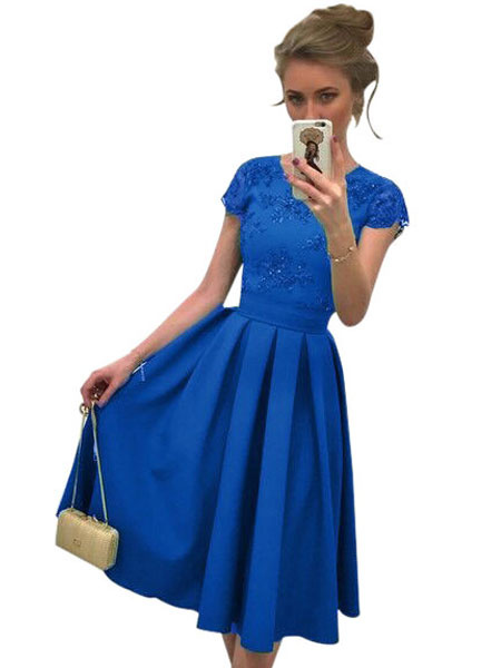 Milanoo Women Skater Dress Green Round Neck Short Sleeve Pleated Flare Dress Formal Dress