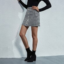 Tweed Plaid Button Front Mini Skirt