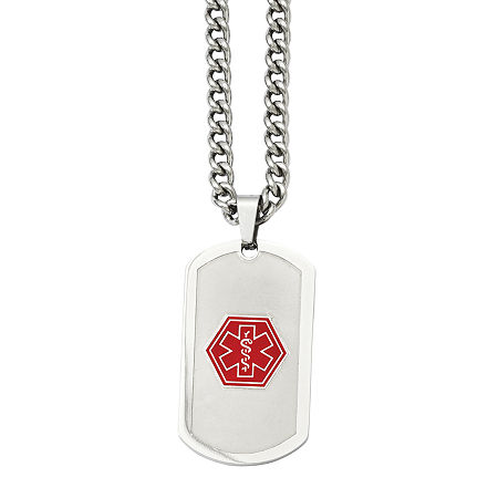 Mens Stainless Steel Dog Tag Medical Pendant, One Size , No Color Family