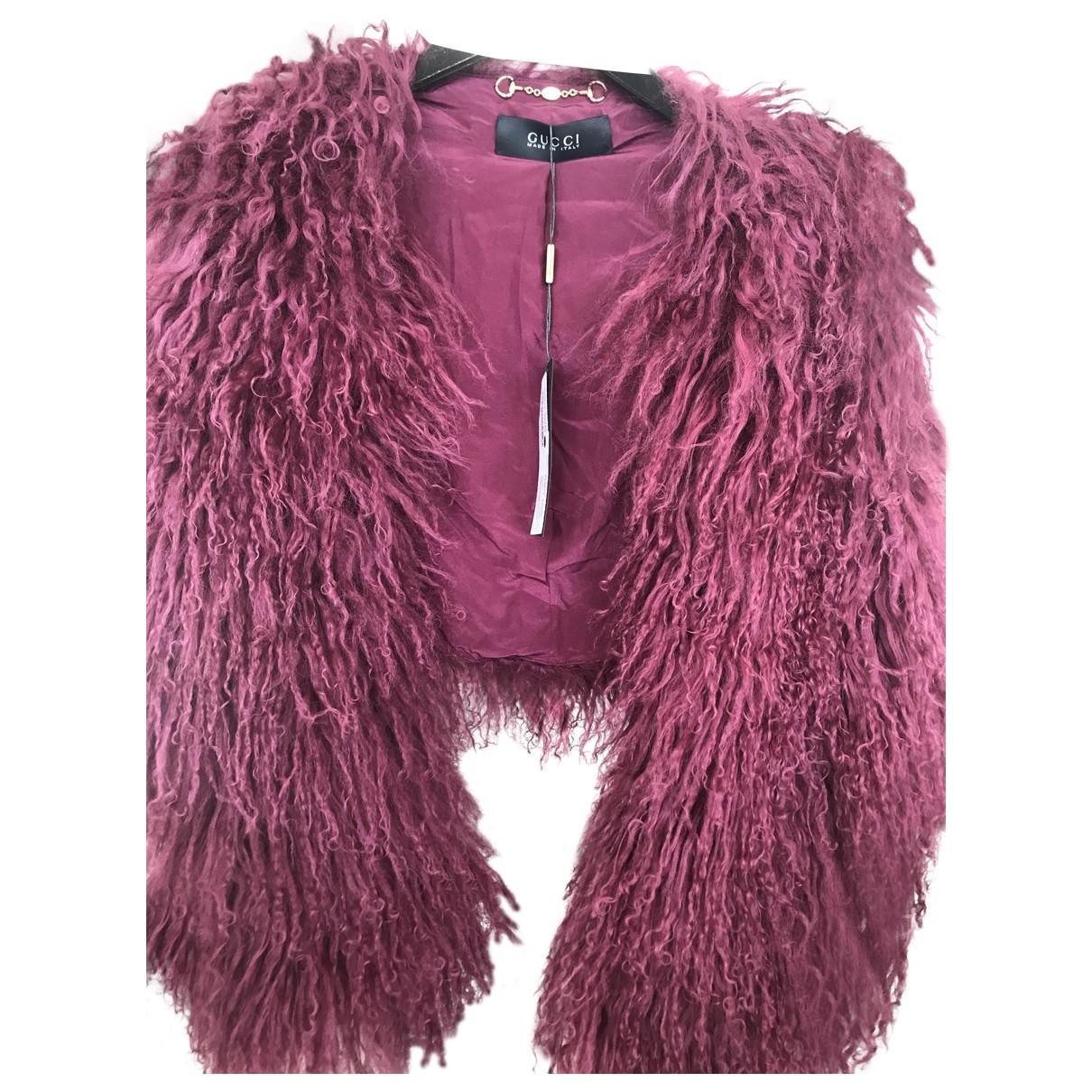 Gucci - Veste   pour femme en agneau de mongolie - bordeaux