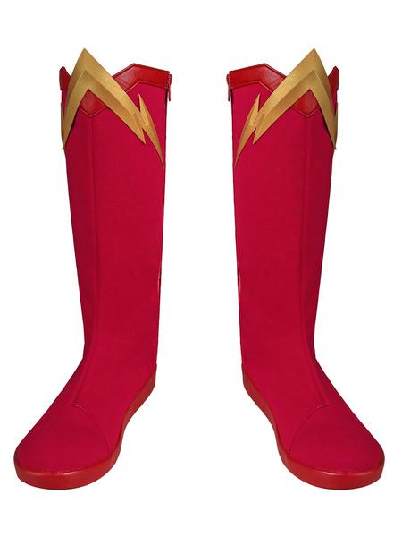 Milanoo The Flash Cosplay Season 6 Barry Allen PU Leather Shoes DC Comics Cosplay Costume