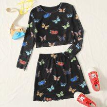 Girls Butterfly Print Lettuce Trim Mesh Tee & Skirt Set