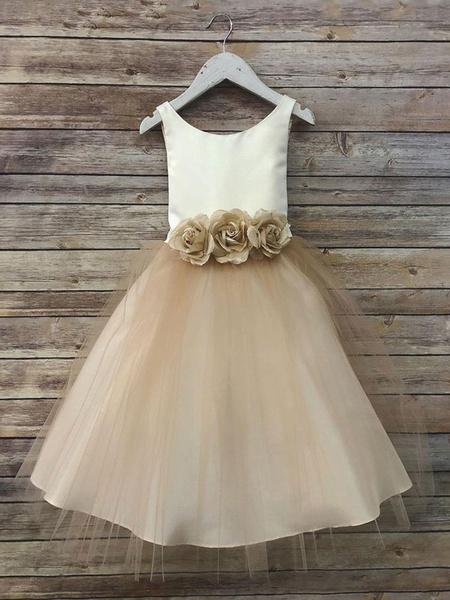 Milanoo Flower Girl Dresses Satin Jewel Neck Sleeveless Flowers Ankle Length Sash Kids Party Dresses