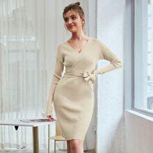 Kate Kasin Surplice Neck Belted Rib-knit Sweater Dress