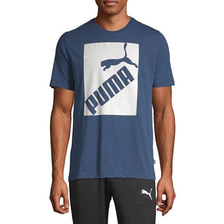 Puma Big Logo Mens Crew Neck Short Sleeve T-Shirt, Small , Blue