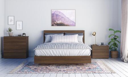 402518 Graham 4 Piece Queen Size Bedroom Set with Platform Bed + Headboard + Nightstand + Chest  in Walnut
