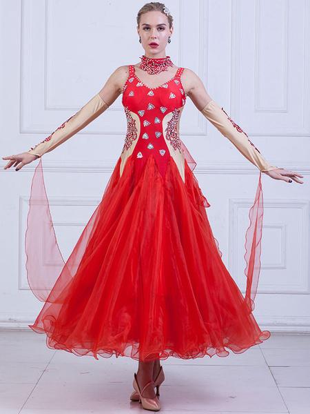 Milanoo Ballroom Dance Costume Women Organza Beading Practice Dancing Dresses
