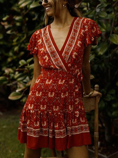 Milanoo Floral Summer Dresses Red Mini Dress V Neck Short Sleeve Shaping Skater Dress