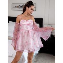 HouseOfChic Bell Sleeve Cold Shoulder Floral Dress