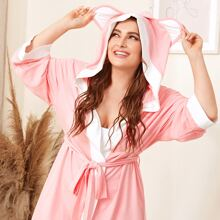 Plus Contrast Panel Self Belted Robe With Ear