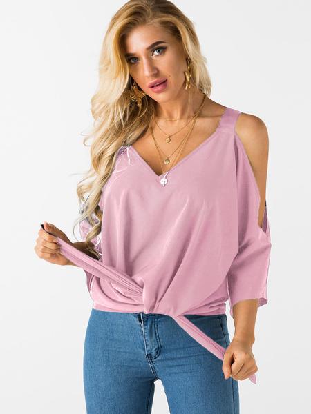 Yoins Pink Lace-up Design Cold Shoulder Bat Sleeves Top