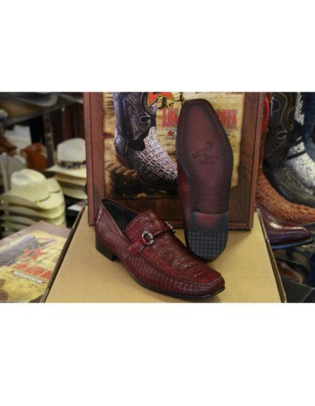 Men's Loafers and Slip On Genuine Crocodile Los Altos Burgundy Shoes