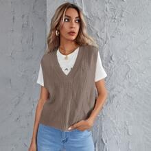 V-neck Shoulder Pad Sweater Vest