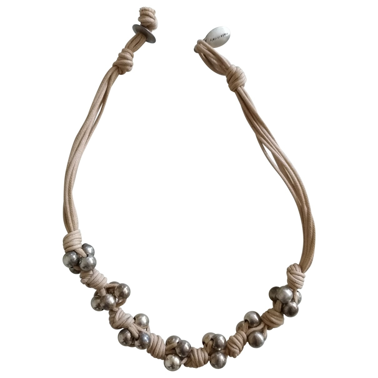 Non Signe / Unsigned Motifs Ethniques Kette in  Beige Metall