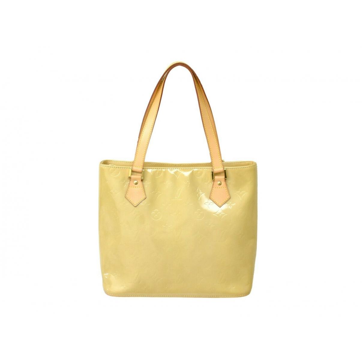 Louis Vuitton Houston Handtasche in  Gelb Lackleder